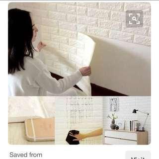 韓國直送-安全無味立體白色磚紋牆貼紙