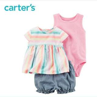 💖卡特Carter's💖3件式套裝短袖上衣連身衣🌟 夏天 平價嬰兒服飾