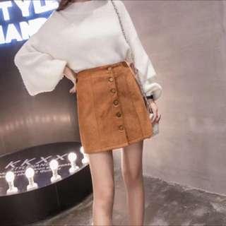 現貨💕韓版絨布駝色A字裙