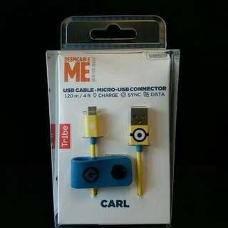New!! Minions CARL USB cable Micro-USB connector #Despicable Me #叉電線 #壞蛋掌門人 #小小兵 #迷你兵團 #samsung