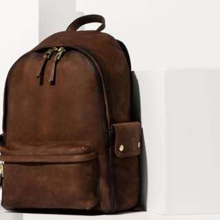 NEW Massimo Dutti Brown Leather Backpack