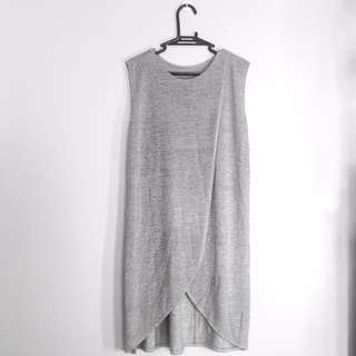 Gray Front Wrap Shift Dress