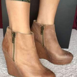 Tan Tony Bianco Heeled Ankle Boots - Size 8