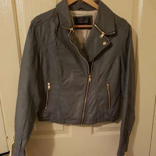 🍑River Island Biker Leather Jacket in Grey SIZE 14