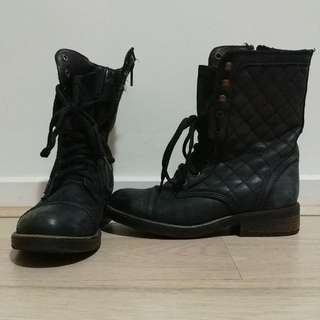 Steve Madden Leather Army Boots - Size 7