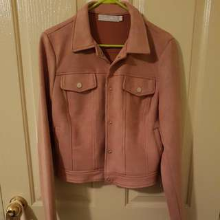 🍑Missguided Pink Suede Jacket in large (size 12)