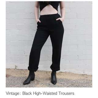 Vintage High Waisted Black Trousers