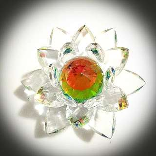 Clear Rainbow Glass Crystal Lotus Flower Petals