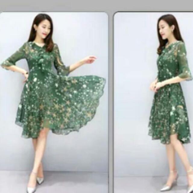 2017韓版 綠色夢幻星空3D剪裁荷葉V領喇叭袖雪紡洋裝