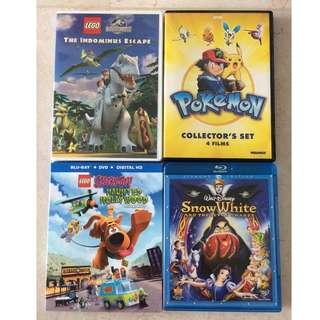 Dinosaur, pokemon, scooby doo & snow white DVDs