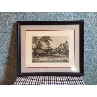 東南亞風景 黑白老畫框《居家裝飾.藝術.復古》