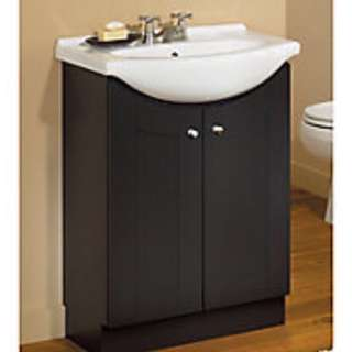BATHROOM VANITY  - Dark Brown Cabinet with White Sink and Tap