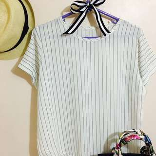 Vertical Striped White Top