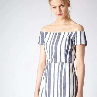 Topshop Off Shoulder Denim Dress In White (Petite UK6)