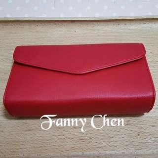 【包】紅色皮革眼鏡盒/收納包