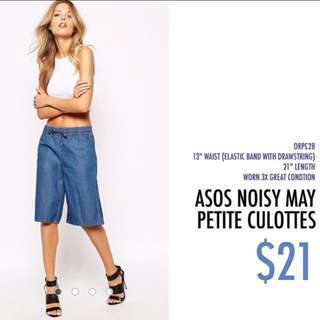 Asos Noisy May Petite Denim Look Culottes