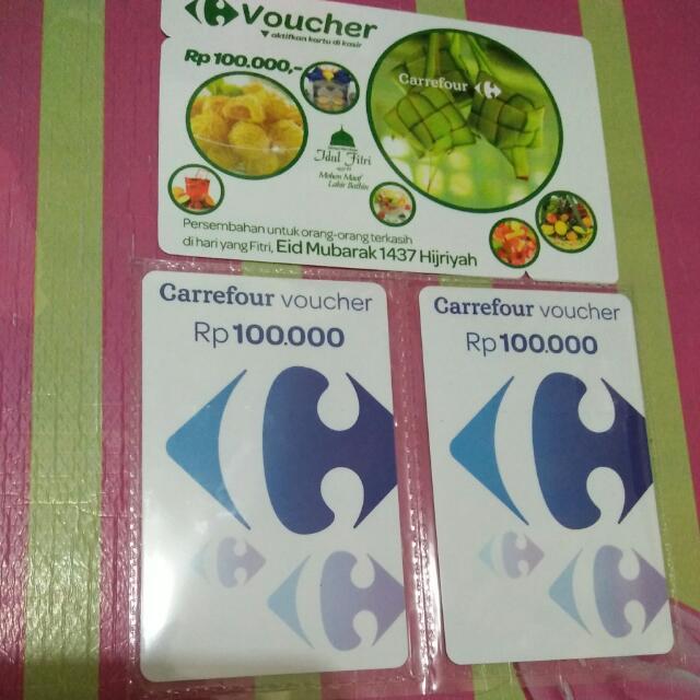 3 Lembar Voucher Carrefour 100k.