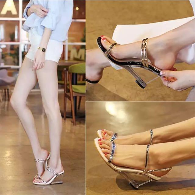 透明楔型涼鞋韓版性感兩穿一字水晶涼拖鞋