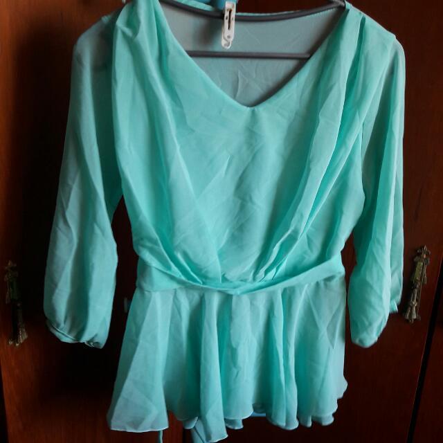 藍綠色氣質雪紡衫
