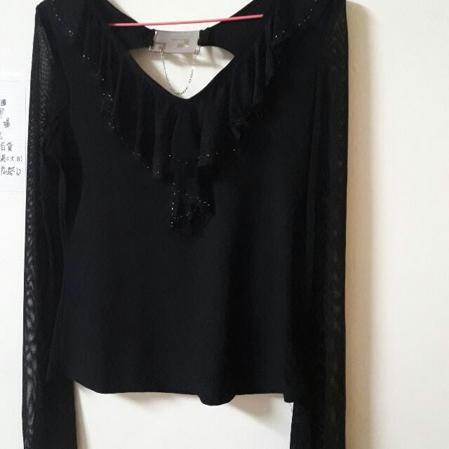 黑色新潮網狀上衣