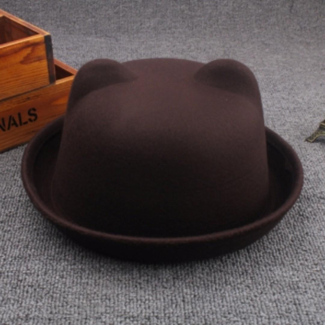 (降)全新 咖啡色貓耳朵帽子  圓頂小禮帽毛呢帽英倫複古圓帽