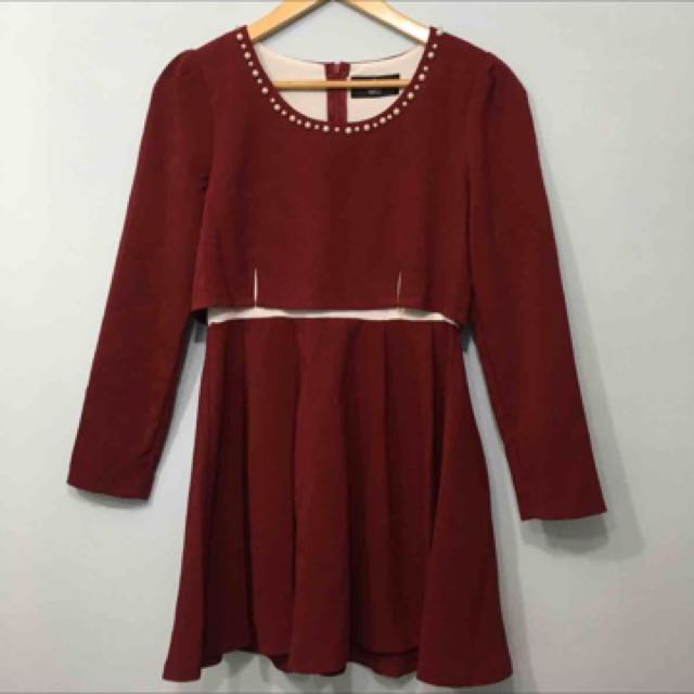 (可換物)韓國 酒紅氣質洋裝