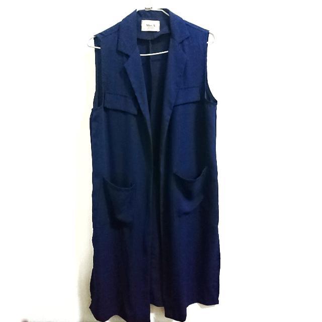韓版長襯衫式背心 深藍 版型好看 實物很有質感