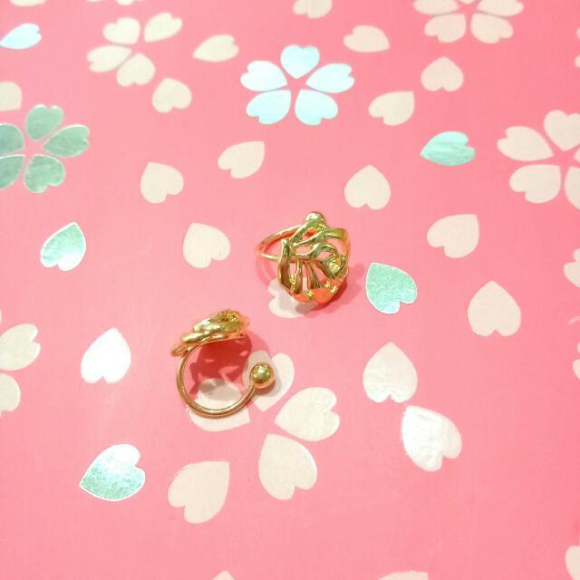 全新 氣質款 鏤空玫瑰 無耳洞隱形U型耳環 金色