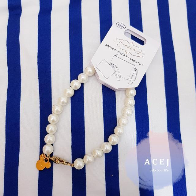 ACEJ日本 Disney Store 迪士尼商店金色米奇米老鼠珍珠串飾手腕鍊/手提帶/手環/吊飾-現貨,臉書按讚打9折