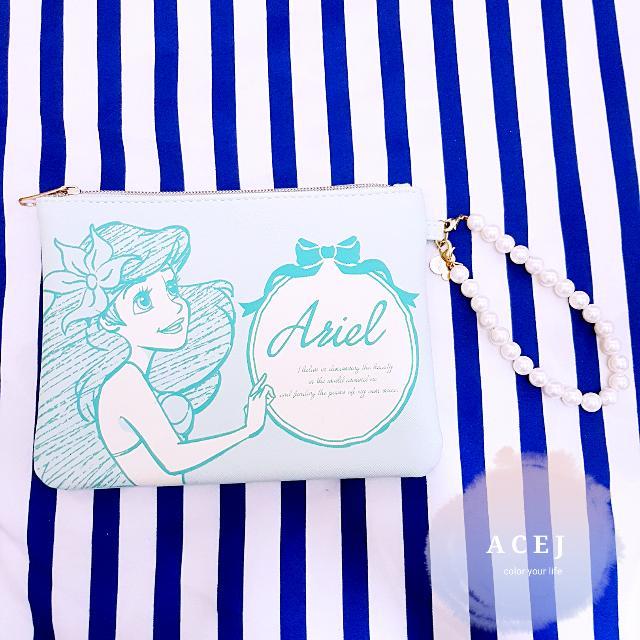 ACEJ日本 Disney Store 迪士尼商店小美人魚皮革手拿包/化妝包/收納包-現貨,臉書按讚打9折