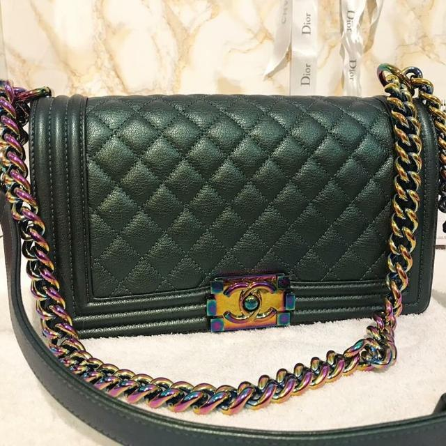 c7c3c8ad9f56 Authentic Chanel Boy Iridescent Green Flap Bag, Luxury, Bags & Wallets on  Carousell