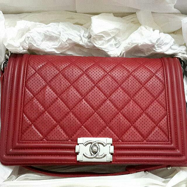 Authentic Chanel Boy Perforated SHW