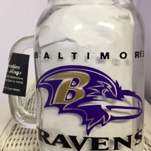 """""""Baltimore Ravens"""" Mason Jar Beer Mug"""