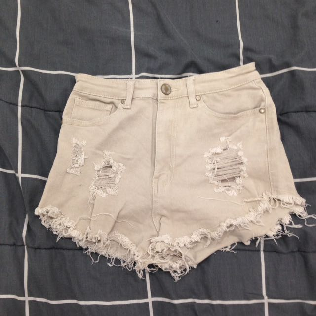 Beige Denim Shorts