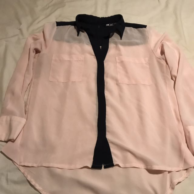 Black Market Pink And Navy Blouse