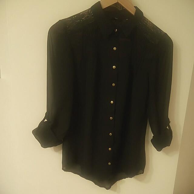 Black Shirt With golden buttons