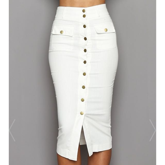 Buttoned up pencil skirt