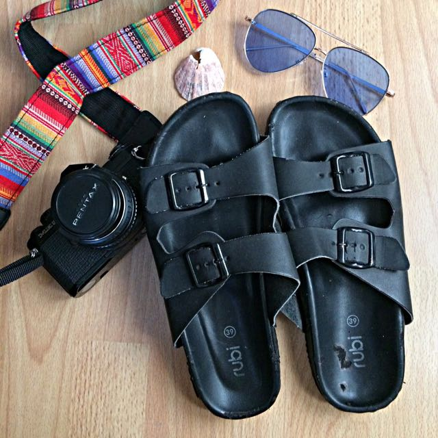 Cotton On Rubi All Black Double Buckle Strap Sandals
