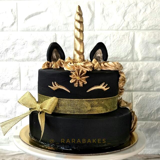 Customized Black Gold Unicorn Cake Food Drinks Baked Goods On