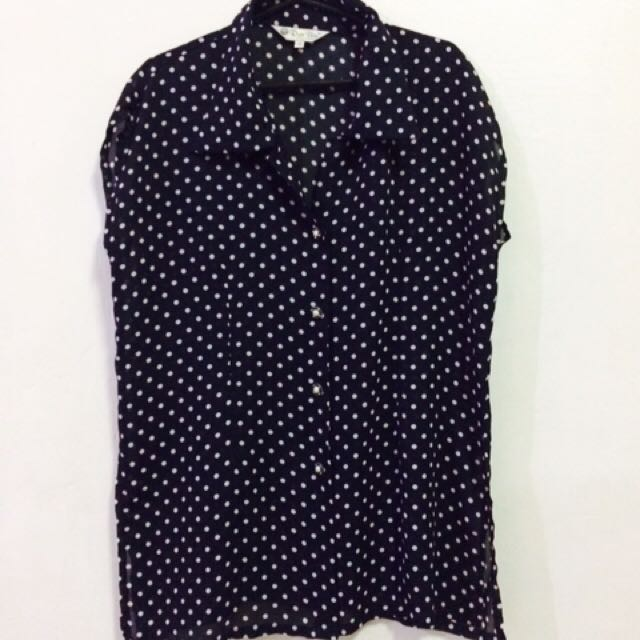 Dotted Blouse With Slit