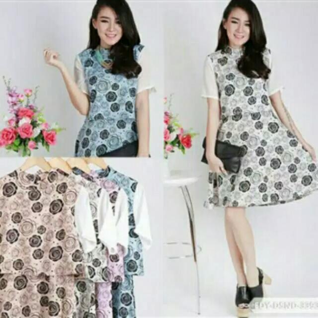 Dress Salestock Warna Biru (midi Dress)