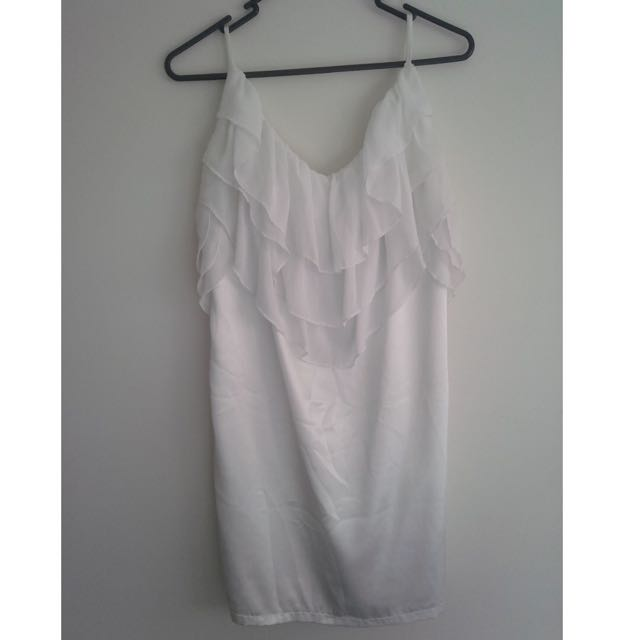 Med(12) White Satin Singlet with sheer detail