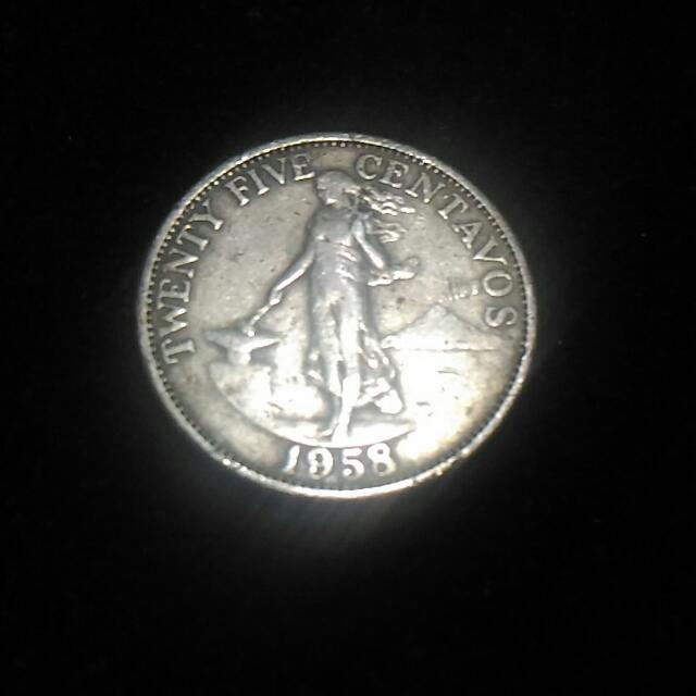 For Sale : PH 1958 25 centavo coin