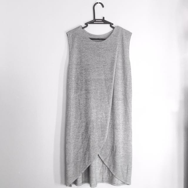 Gray Front Wrap Shift Dress