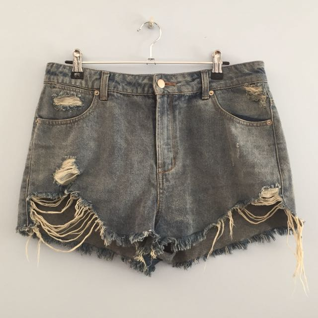High Waisted Ripped Denim Shorts