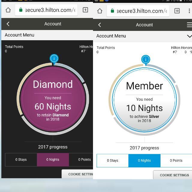 Hilton Diamond membership card