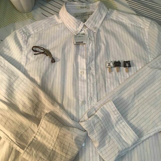 Repriced | H&M | White Stripe Longsleeves