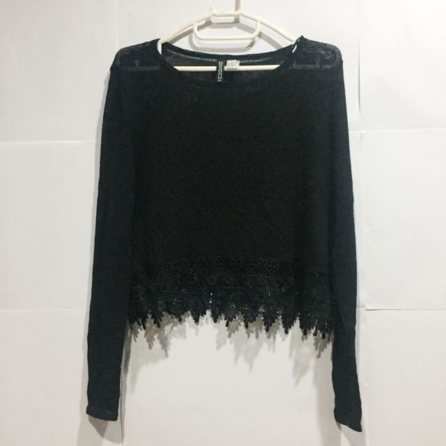 H&M Knitted Top With Lace Detail