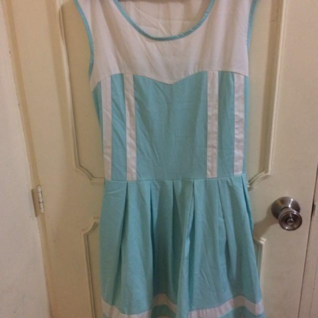 Jellybean Blue and White Dress