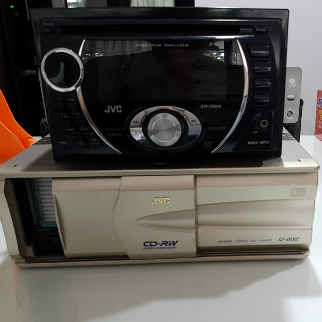 JVC Car Stereo and 12 Discs CD Changer